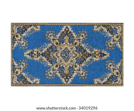 blue persian carpet isolated on white background - stock photo