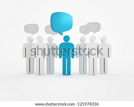 blue person silhouette and speech bubbles - stock photo