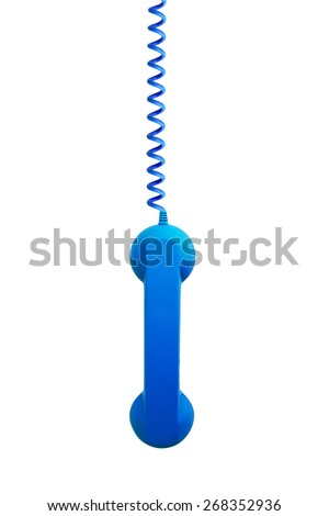 Blue phone receiver hanging, isolated on white background - stock photo