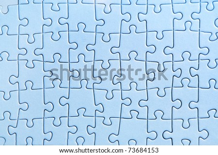 blue photo puzzle texture, view from above - stock photo
