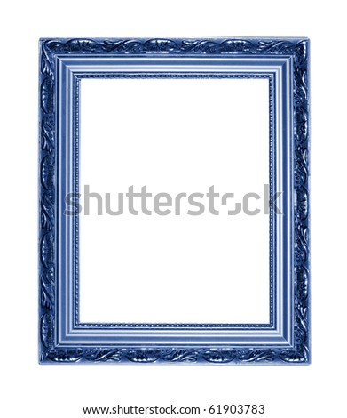 blue picture frame isolated on white - stock photo