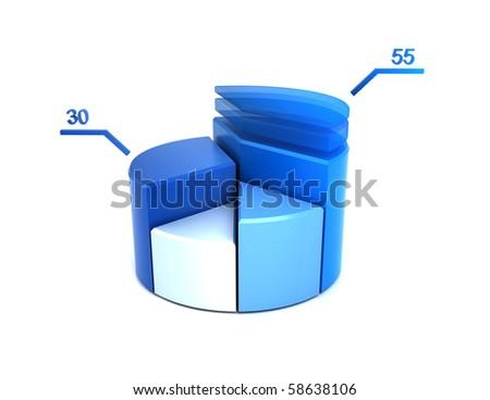 Blue Pie-Chart - stock photo