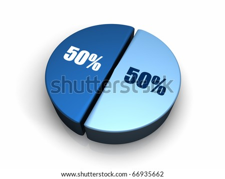 Blue pie chart with fifty - fifty percent, 3d render