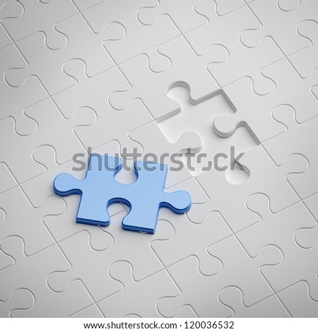 Blue piece of white puzzle - stock photo