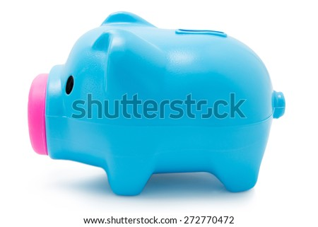Blue piggy bank isolated on white background with clipping path - stock photo