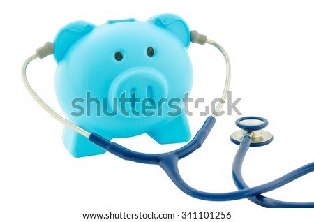 Blue piggy bank with stethoscope isolated on white concept for financial checkup or saving for medical insurance costs - stock photo
