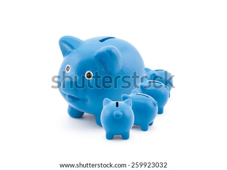 Blue piggy banks feeding from their mother - stock photo