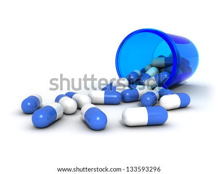 Blue pills spilling out of a plastic bottle.