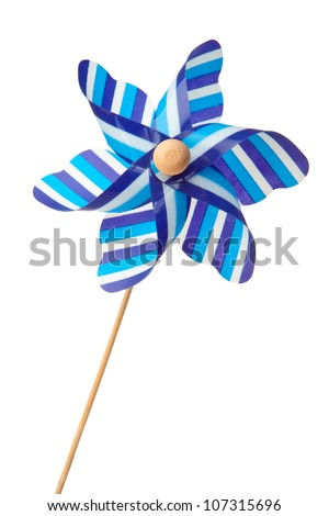 Blue pinwheel against a white background - stock photo