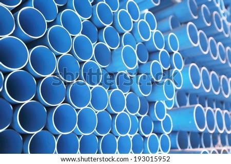 blue pipe on display - stock photo