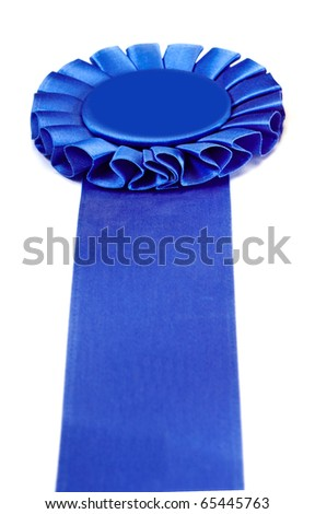 Blue Place Ribbon on white background with copy space - stock photo