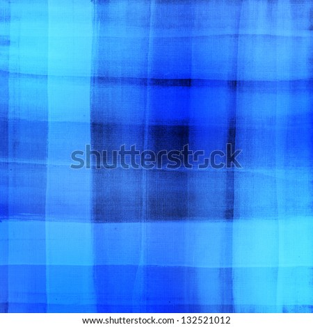 Blue plaid watercolor. Hand painted brush strokes background - stock photo