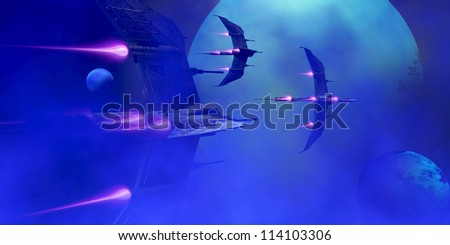 Blue Planet and Moons - Several star-ships blast past a system of a blue planet and its moons. - stock photo