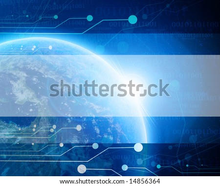 Blue planet earth in outer space with technology elements - stock photo