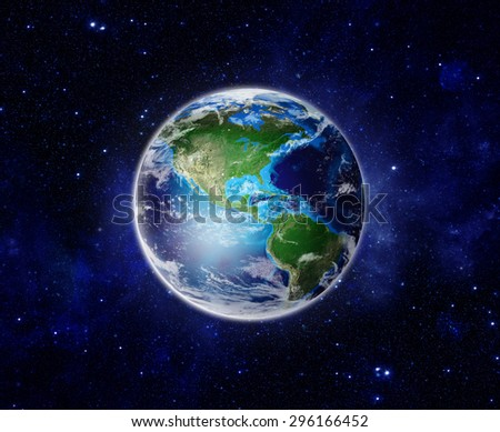 Blue Planet Earth showing North & South America, USA, sun, stars, galaxies, nebulae, milky way in space. Global World Photo realistic 3D rendering - Elements of this image furnished by NASA - stock photo
