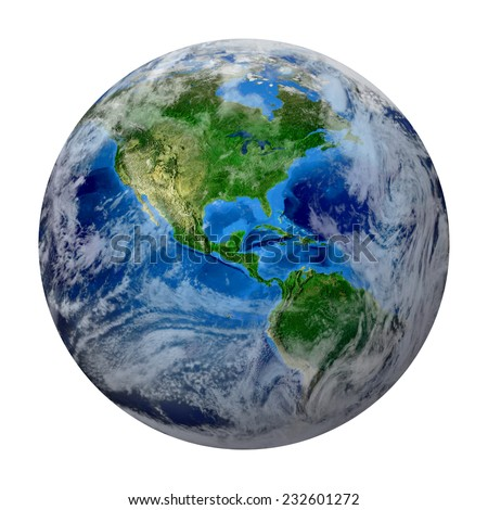 Blue Planet Earth with some clouds isolated in white. North and South America, USA path of global World. Photo realistic 3 D rendering with clipping path. Elements of this image furnished by NASA