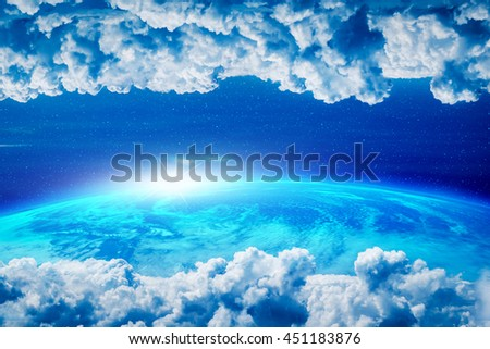 Blue planet, Earth with white clouds and sun light, Elements of this image furnished by NASA