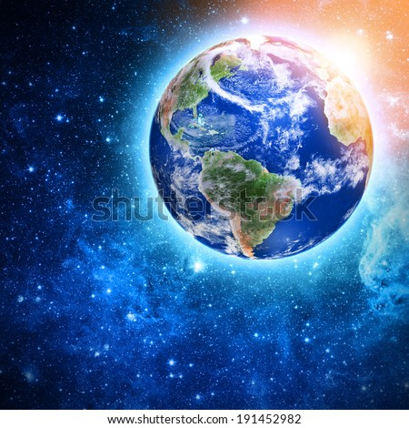 blue planet in beautiful space Elements of this image furnished by NASA  - stock photo