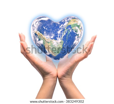 Blue planet in heart shape over woman human hands isolated on white background: World heart day idea symbolic concept campaign to promote health awareness: Elements of this image furnished by NASA