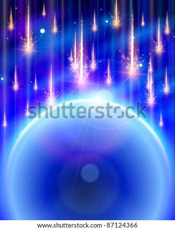 Blue Planet & Meteor rain. Bitmap copy my vector ID 74515558 - stock photo