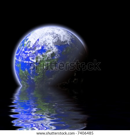 blue planet over water