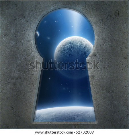 Blue Planet seen through the keyhole - stock photo