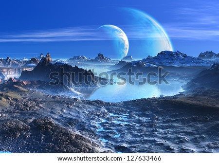 Blue Planets in Orbit over Mountains and Lakes - stock photo