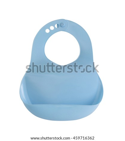 blue plastic baby bib isolated on white background