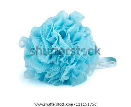Blue plastic bath puff isolated on white - stock photo