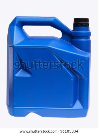 blue plastic bottle with black nut - stock photo