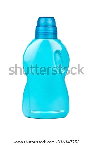 Blue plastic bottle with gel washing on a white background