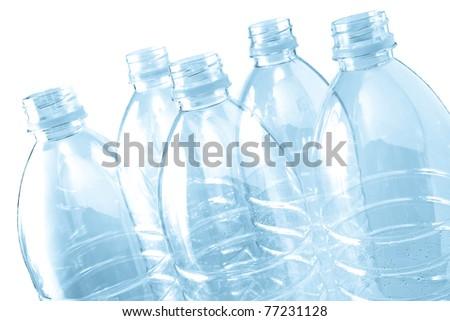 Blue plastic bottles - stock photo