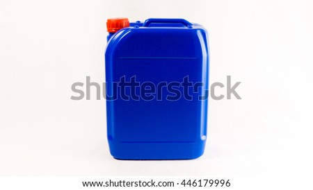 Blue plastic canister, container; isolated on white background - stock photo