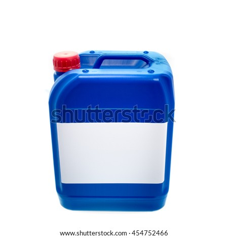 Blue plastic canister, container with label; your text here; isolated on white background  - stock photo