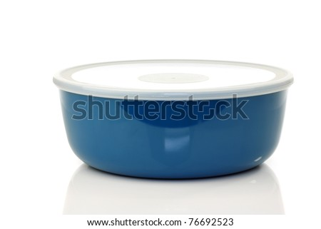 blue plastic container for food storage on a white background