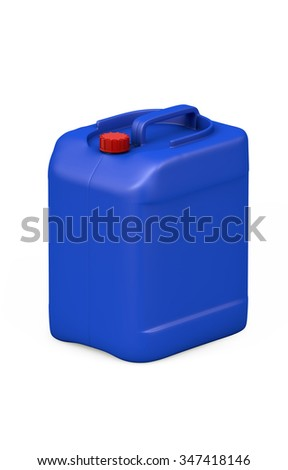 Blue plastic jerry can isolated on white. clipping path - stock photo