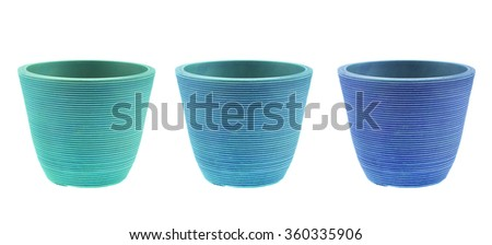 Blue Plastic plant pots isolated