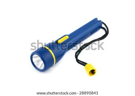 Blue plastic pocket lamp isolated on white - stock photo