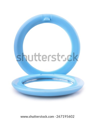 Blue plastic pocket mirror isolated on white - stock photo