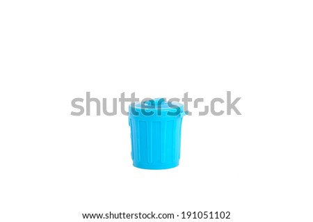 Blue plastic trash can isolated on white - stock photo