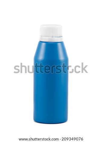 Blue plastic with white cap on white background  - stock photo