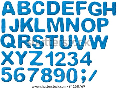 Blue plasticine alphabet with numbers, isolated. - stock photo