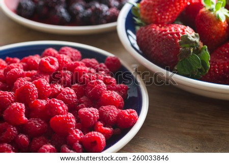 Blue plate full of juicy,delicious, healthy raspberries. Shallow depth of field, strawberries and blackberries in the background. - stock photo