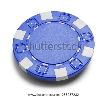 Blue Poker Chip with Copy Space Isolated on a White Background. - stock photo