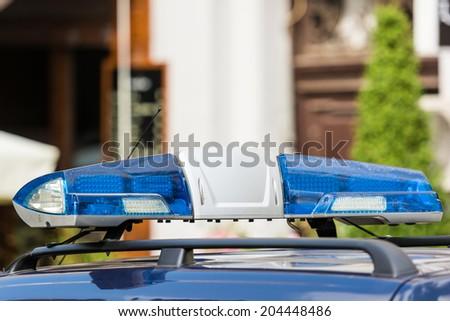 Blue Police Siren - stock photo