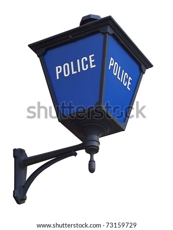 Blue police station lamp isolated on white - stock photo