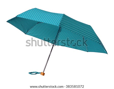 Blue polka dot umbrella isolated on white background - stock photo
