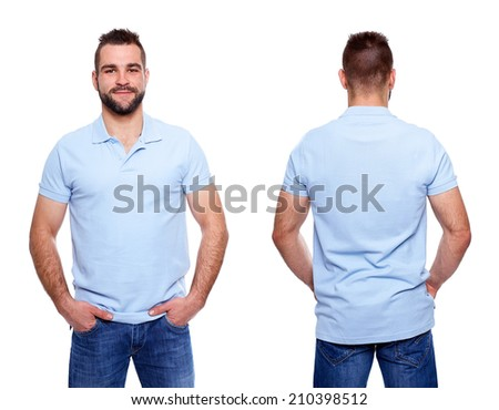 Blue polo shirt on a young man template on white background - stock photo