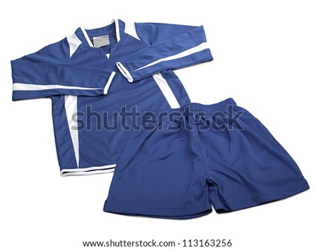 Blue polyester nylon soccer sportswear shorts and sweet shirt isolated on white ( clipping path ) - stock photo