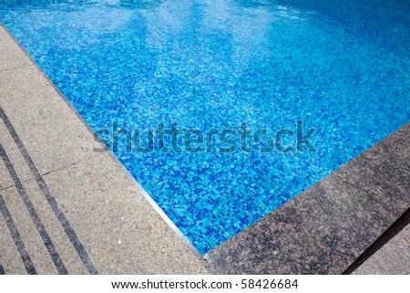 blue pool corner - stock photo